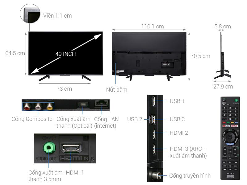 قیمت و خرید تلویزیون 4k سونی مدل 49X7000F